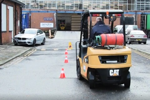 Driving a forklift around cones